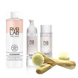 RVB LAB The Skin Microbioma - zestaw do demakijażu + szczotka do twarzy z drewna oliwnego YASNE